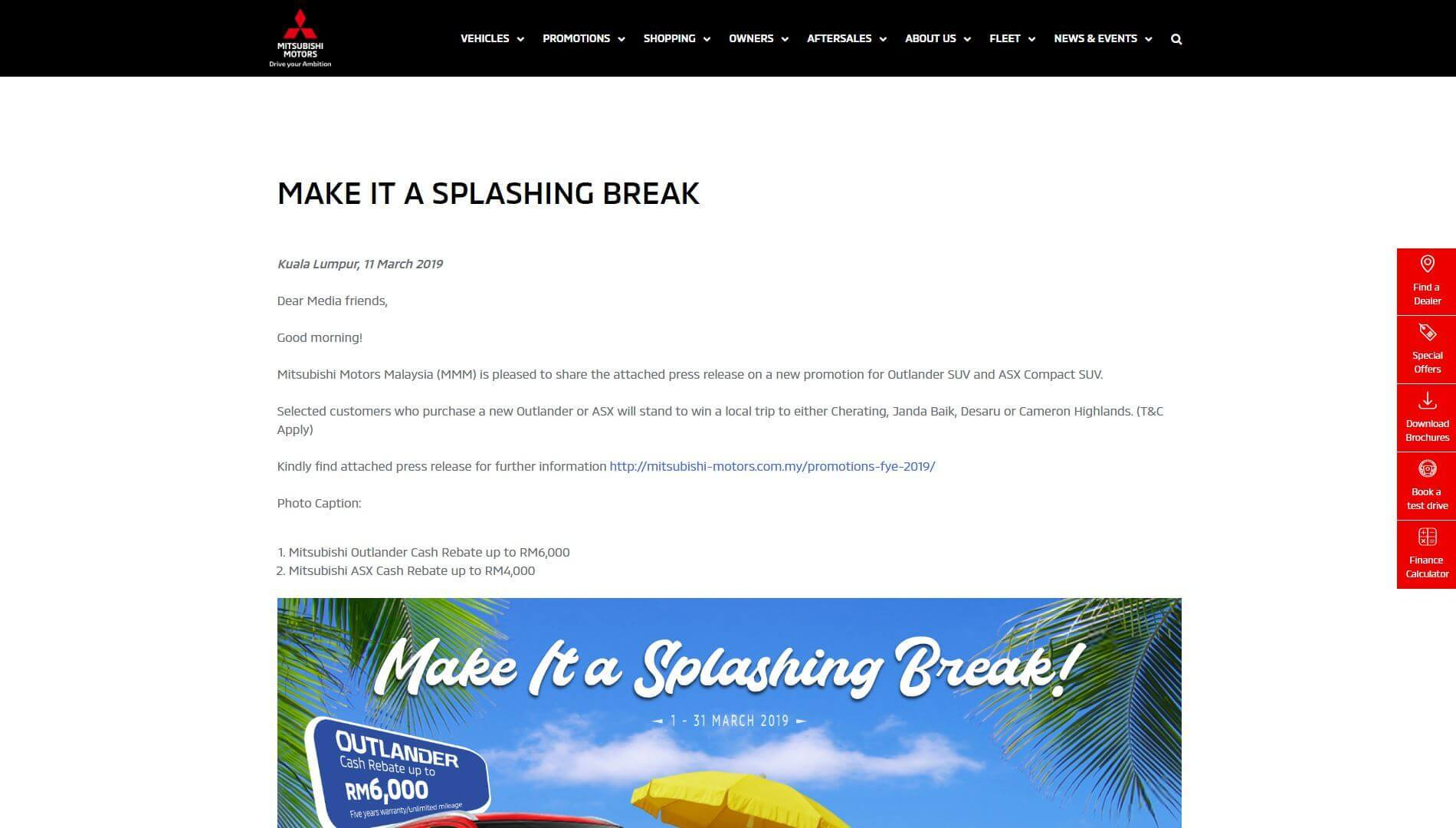 Splashing Break Promotion Outlander and ASX | Mitsubishi Motors Malaysia
