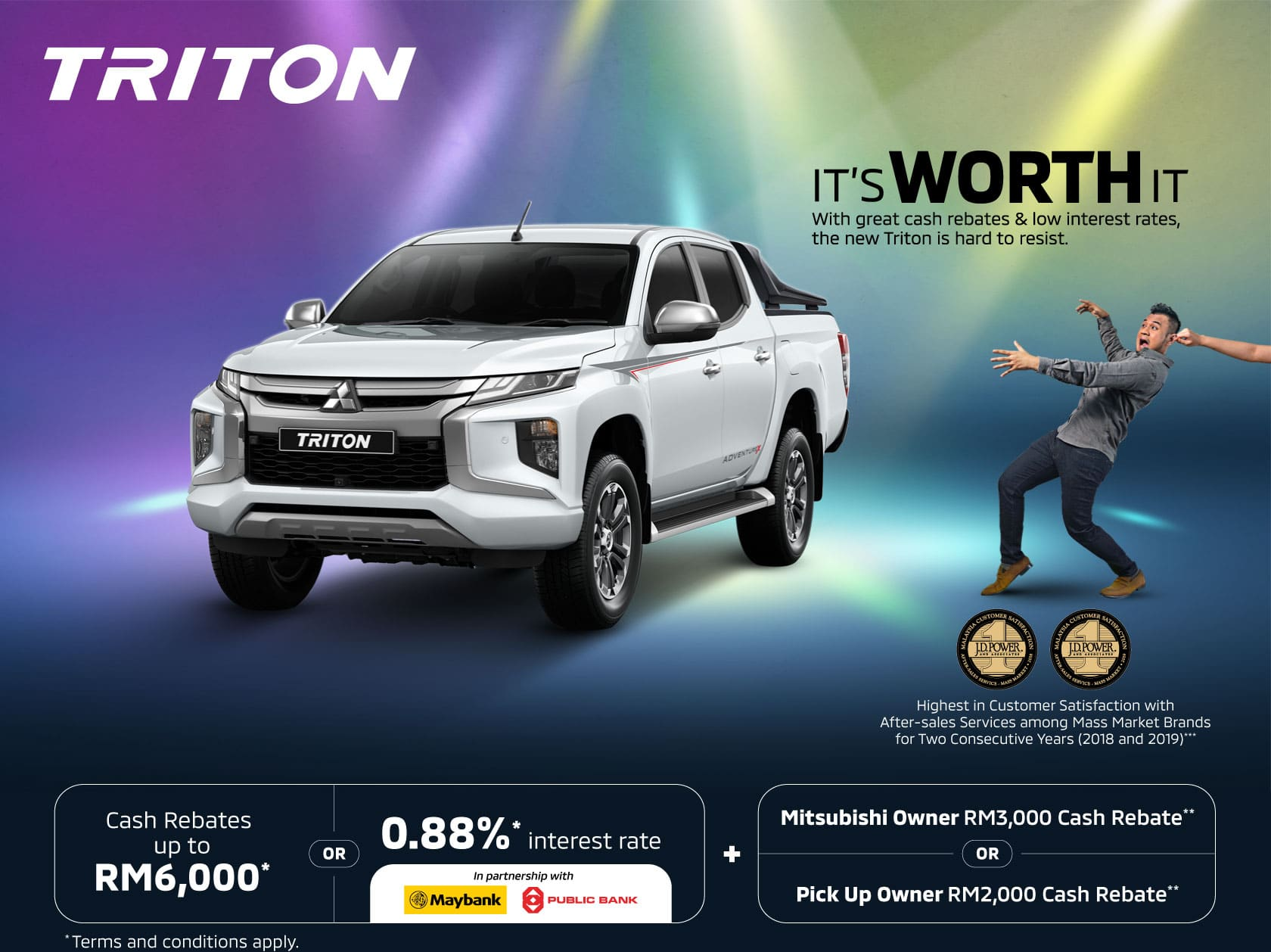 All new promotion for the Mitsubishi | Mitsubishi Motors Malaysia - Mitsubishi is back with their all new tritons, with great cash rebates up to RM6000 and low interest rates! A truly head turning promotion!